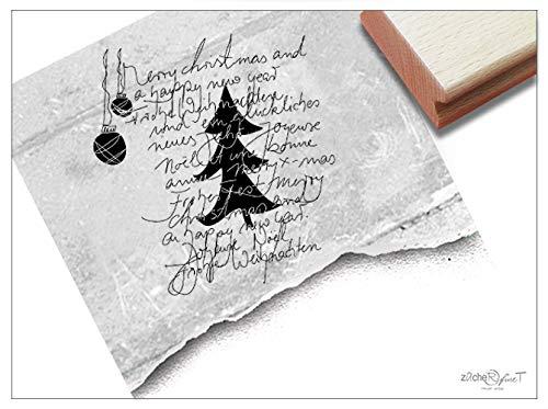 Stempel Weihnachtsstempel XL Typo Handschrift - Textstempel Schriftstempel Weihnachten Karten Geschenk Weihnachtsdeko - zAcheR-fineT