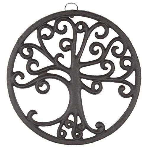 gasaré, Cast Iron Trivet, Tree of Life Decor, for Hot Dishes, Pots, Pans, Kitchen, Rubber Feet Caps, Ring Hanger, 8 Inches, Rustic Brown Finish, 1 Unit