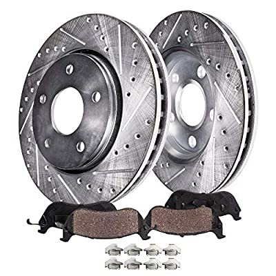 Detroit Axle - Drilled & Slotted FRONT Brake Kit Rotor Set & Brake Kit Pads w/Clips Hardware Kit Performance GRADE for 1992-2001 Toyota Camry 4 cylinder Sedan