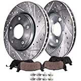 Detroit Axle - Front Brakes Replacement for Honda Accord Civic Element CR-V Acura ILX - 282mm Disc Rotors Ceramic Brake Pads(Drilled and Slotted Performance)