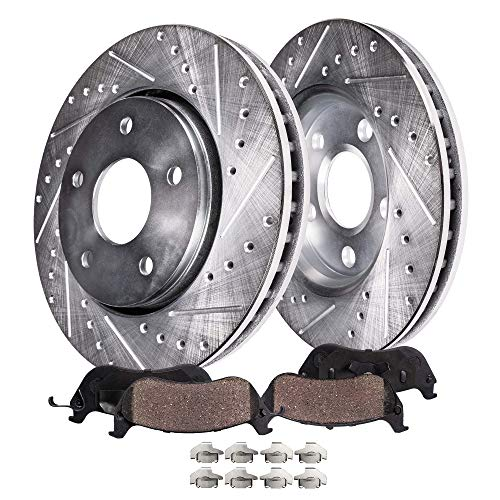 Detroit Axle - Pair (2) Front Drilled and Slotted Disc Brake Kit Rotors w/Ceramic Pads w/Hardware for 1998-2002 Ford Crown Victoria/Mercury Grand Marquis/Lincoln Town Car Sedan
