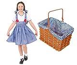 Disfraz de DOROTHY con cesta para niña, disfraz de mago de OZ DOROTHY para el Día Mundial del Libro / Semana del Libro, vestido de Dorothy, lazos a juego + cesta forrada de mimbre