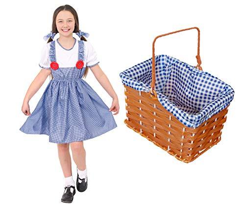 Drothy Costume avec panier pour fille Le Magicien d Oz Drothy Costume pour la journée mondiale du livre la semaine du livre. Robe Drothy + élastiques assortis + panier en osier doublé Taille L