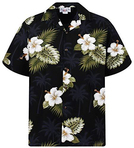 P.L.A. Pacific Legend Original Hawaiihemd, Kurzarm, Weißer Hibiskus Allover, Schwarz, L