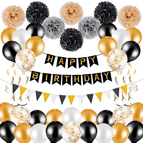 50 Piezas Conjunto de Decoracion de Cumpleaños, Adornos de Feliz Cumpleaños Incluye Globos, Guirnalda, Pancarta, Banderas del Empavesado (Negro, Oro)