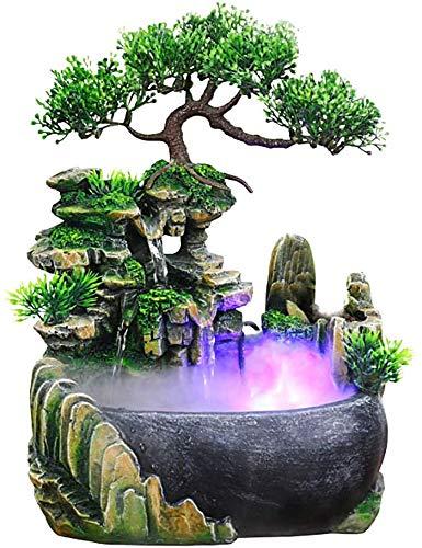 Kaibrite Zimmerbrunnen Brunnen Harz Wasserfall Tischbrunnen Dekoration Wasserspiel mit Farbwechsel Led Beleuchtung Zen Meditation für Haus, Büro, Schlafzimmer Dekoration