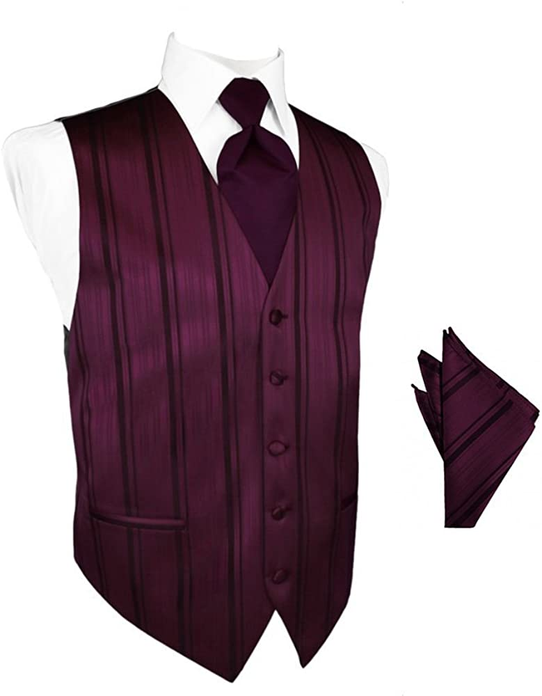 Berry Striped Satin Tuxedo Vest with Long Tie and Pocket Square Set