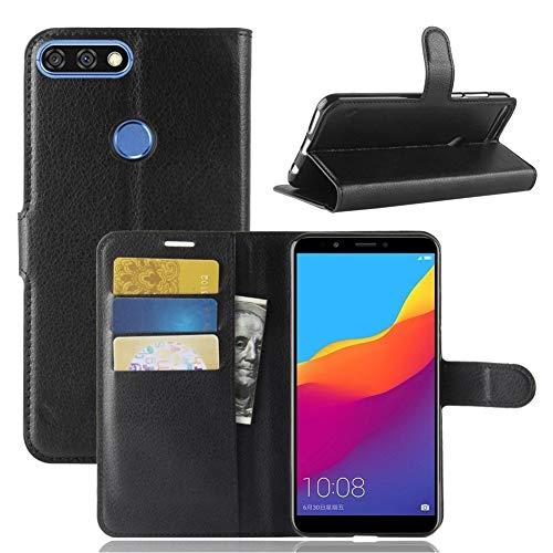 CoverKingz Handyhülle für Huawei Y7 Prime 2018 / Huawei Y7 2018 / Honor 7C - Handytasche mit Kartenfach Y7 2018 / Honor 7C Cover - Handy Hülle klappbar Schwarz