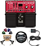 BOSS RC-30 Loop Station Bundle with Blucoil Slim 9V 670mA Power Supply AC Adapter, 10-FT Straight Instrument Cable (1/4in), 2-Pack of Pedal Patch Cables, and 4-Pack of Celluloid Guitar Picks