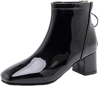 ELEEMEE Women Block Heel Fringe Boots Ankle Boots Zip
