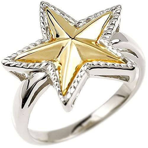 [アトラス]Atrus リング レディース pt900 プラチナ900 18金 イエローゴールドk18 星 コンビ 指輪 エンゲージリング ミル打ち 地金 トレジャーハンター 22号