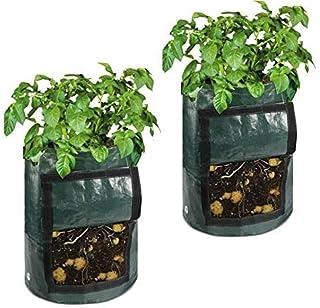 Litthing 2 Stück Kartoffel wachsen Taschen,Tomate wachsen Taschen, Pflanzentaschen, 10 Gallon Pflanzbeutel, Pflanzsack, Vegetable Grow Bags Pflanzenwachstumsbeutel Pflanzgefäße zum Gemüse Früchten