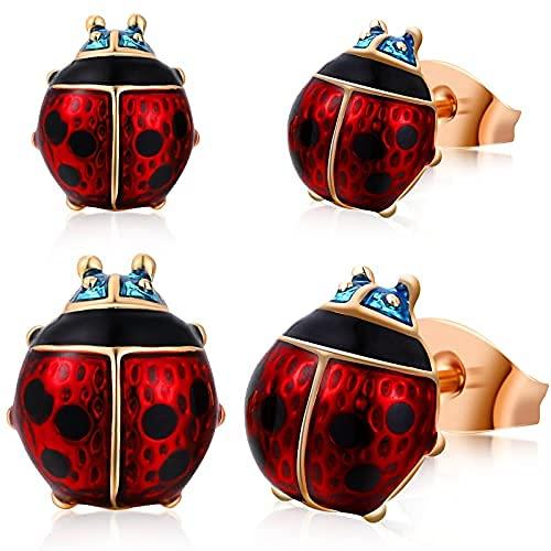 2 pares de pendientes de mariquita chapados en oro con forma de mariquita, color rojo