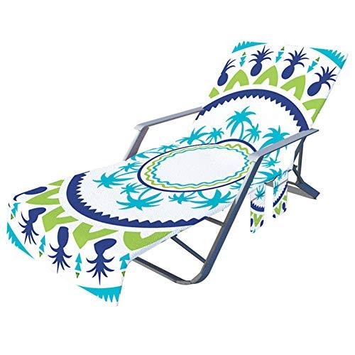 Funda de silla de playa con bolsillos laterales de microfibra para tumbonas, hoteles, no deslizantes de 209,8 x 72,8 cm