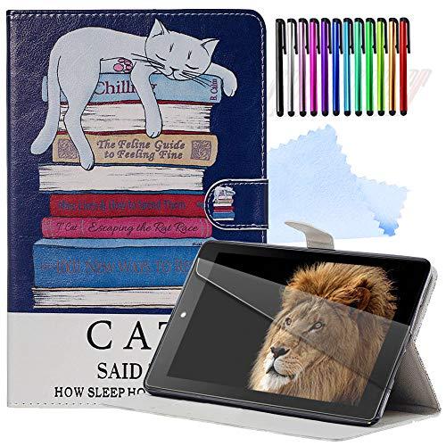 YEARN MALL Tablet Hülle für Amazon Kindle Paperwhite (Versionen 2012, 2013, 2015 und 2016) + kostenloser Displayschutz + Stylus-Stift + Reinigungstuch, Auto Wake/Sleep,Katze und Buch