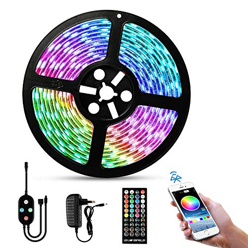 LED Strip RGB 5M, solawill LED Streifen Wasserdicht APP Smart Steuerung & Fernbedienung Sync mit Musik,5050 RGB Led-Band Selbstklebend LED Stripes Kit für Schlafzimmer,TV,Party Weihnachten Deko
