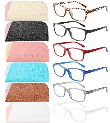 YUMUYAN 6-Pack Reading Glasses Blue Light Blocking for Women Men, Lightweight Anti Eyestrain/Glare Computer Readers with Spring Hinge(1.5)