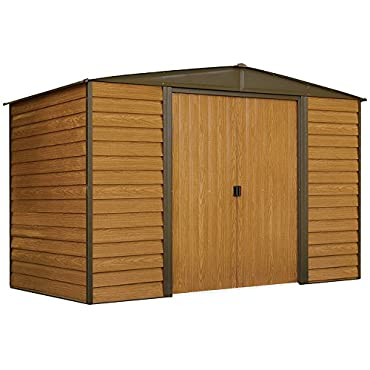 Arrow WR106 Woodridge Low Gable Steel Storage Shed, Coffee/Woodgrain 10 x 6 ft.