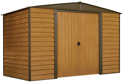 Arrow Woodridge Low Gable Steel Storage Shed, Coffee/Woodgrain 10 x 6 ft.
