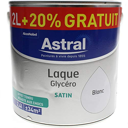 ASTRAL 5213447 Laque glycéro 2 L + 20% Satin Blanc