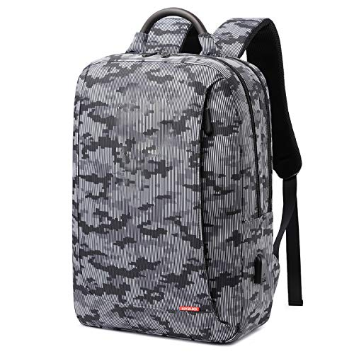 HYZUO Laptop Backpack with USB Charging Port Anti-Theft Water Resistant Slim Stylish School Backpack Business Travel Bag with Camouflage Pattern Fits Up to 15.6 Inch Laptop for Men Women, Dark Grey