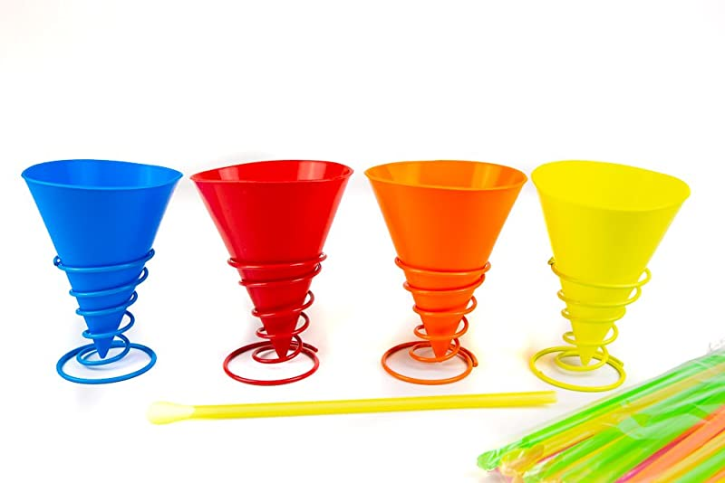 KOVOT Silicone Snow Cone Cups Set Includes 4 Multi Color Cups 4 Metal Cup Holders And 24 Plastic Straws
