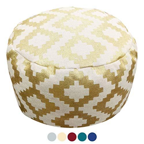 casamia Design Pouf Kelim Bodenkissen Sitzhocker Fußhocker rund Bolivien 55x37x55 cm handbedruckt 5 Farben Farbe Gold - metallic Gold