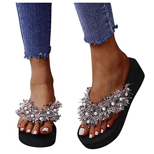 Sandales pour femme avec pompons en perles - Tongs -...