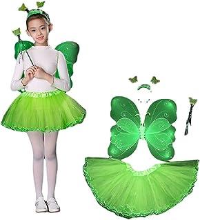 Hengyuan Costume de Cosplay de fée d'ailes de Papillon pour Les Filles, Costumes de Noël d'halloween pour Les Enfants Cade...