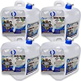 WaterStorageCube BPA-Free Collapsible Water Container 5.3 Gallon with Spigot, Camping Water Storage Carrier Jug for Outdoors Hiking Hurricane Emergency, Foldable Portable Water Canteen (4-Pack)