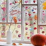 78 Pegatinas de Ventana de Corazón de San Valentín Calcomanías de Fiesta de Boda Happy Valentine's Day Decoraciones Estáticas Coloridas de Ventana de Corazón para Decoración de Aniversario