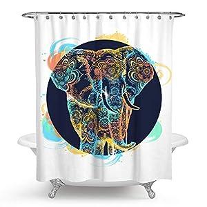 QCWN Elephant Shower Curtain, Elephant Mandala Bohemian Hippie Indian Shower Curtain Set with Hooks for Bathroom Décor.70x70Inch