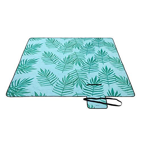 SONGMICS Picknickdecke, 200 x 200 cm große Stranddecke, Campingdecke, wasserdichte Unterseite, maschinenwaschbar, faltbar, für Garten, Park, Strand, Camping, blau mit tropischem Farn GCM087Q01