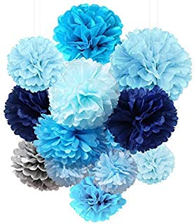 Tissue Paper Flowers Pom Poms Decorations - Bright Colorful Large Rainbow Craft Assorted Bulk Kit Hanging Wall for Big Wedding Birthday Party Decor (Blue Pack)