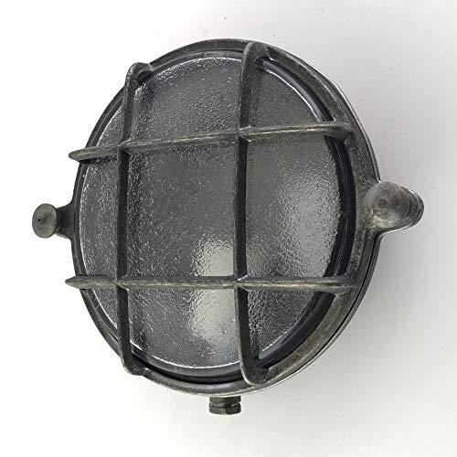 Lámpara náutica de latón redondo de mamparo con enchufe de porcelana E14