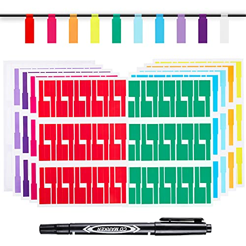 600 Cable Labels with Marker, ZENLI 20 Sheets Waterproof Cord Labels for Electronics, 10 Colors Printable Wire Labels Tags for Ethernet and Network, Write on Labels Easy for Cable Organize
