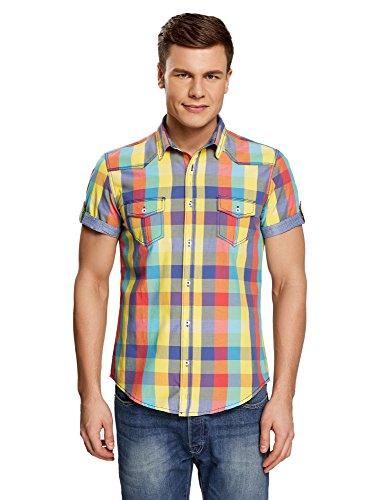 oodji Ultra Herren Tailliertes Kurzärmeliges Hemd mit Karo-Muster, Mehrfarbig, Herstellergröße 45,5 (Kragenweite 45,5 cm)/ DE 58 / XXL