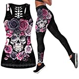 Women 2 Piece Casual Sweatsuit Skull Outfits Printed Tank Tops Yoga Leggings Jogger Sets...