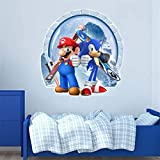 LZWNB Dibujos Animados 3D Mario y Sonic The Hedgehog Pegatinas de...