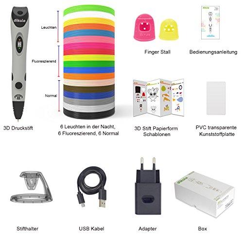3D Stifte + PLA 18 Farben – 【Neueste Version 2018】3D Stifte mit PLA Farben 120 Fuß und 250 Schablonen eBook, Dikale 07A 3D Pen als kreatives Geschenk für Erwachsene, Bastler zu kritzeleien, basteln, malen und 3D drücken - 3