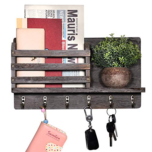Entryway Mail Envelope Organizer Wall Mounted with 6 Key Hooks, Rustic Wood Key Mail Holder for Wall, Dog Leash Hanging, Cap Rack, Letter or Newspaper Storage, Decorative Floating Shelf Grey