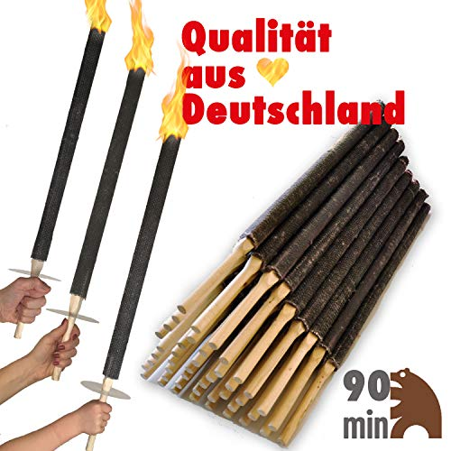 OutdoorBÄR - 50 Stück hochwertige Wachsfackeln mit Handschutzteller   Brenndauer 90 min - Made in Germany - Pechfackeln