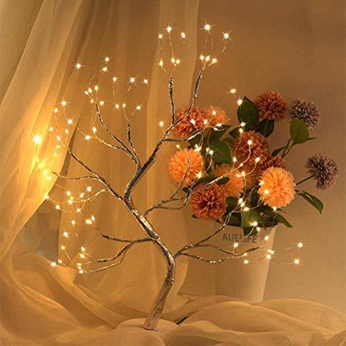 Tree Light Copper Wire Table Lamps,Night Light Fairy Light Spirit Tree Sparkly Night Light Mini Christmas Tree Home Decoration 108 LED Flower Tree Light Desktop DIY Bonsai Tree Lamp