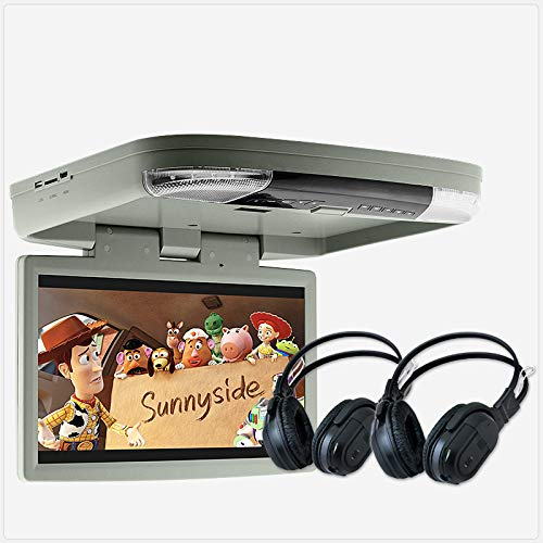 TUNEZ® 39,6 cm (15,6 Zoll) HD Auto DVD Player Dach montiert Flip Down Monitor Van Bus 24V 12V (Grau)