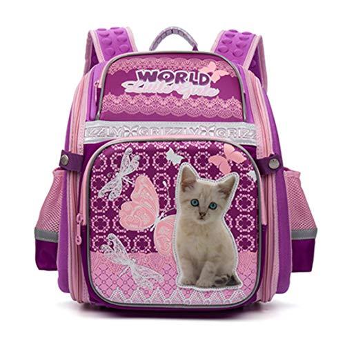 Edad 1-4 Mochila Niños Mochilas Escolares para Niñas Adolescentes Bolsa de Dibujos Animados Gato Perro Mochila Ortopédica de Nylon Impermeable Pink