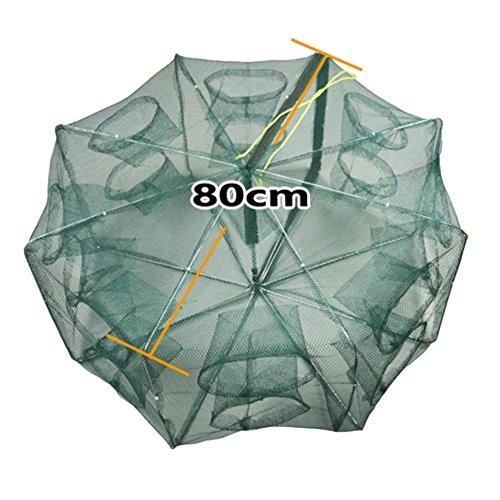 Seasaleshop Fischernetz Tragbares Falt Fangnetz Fisch Garnelen-Käfig Falle Netz Angel Sack Angel Käfig mit einem 8M Langen Seil