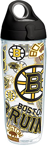 Tervis 1266007 NHL Boston Bruins All Over Tumbler with Wrap and Black with Gray Lid 24oz Water Bottle, Clear