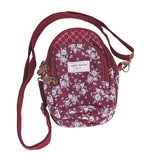 Damen Mädchen Umhängetasche Baumwolle Handystasche Kleingeldtasche 3-Schicht Schultertasche Schlüsseltasche Kartentasche Geldbörse