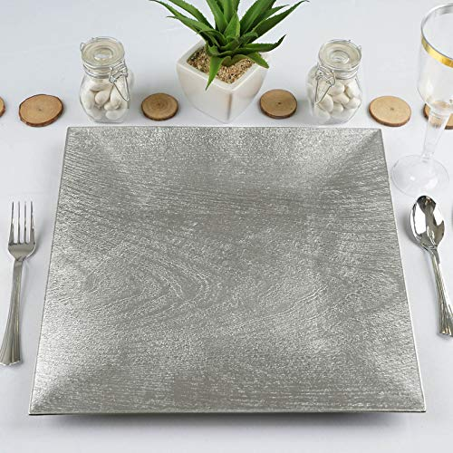 Efavormart Pack of 6-12' Square Wooden Textured Acrylic Charger Plates - Silver Plate for Wedding, Party, Event, Banquet, Dinner Plates Chargers