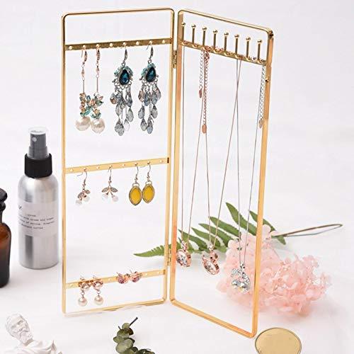 Joyeros para mujer, joyero, organizador, regalo, expositor, doble panel de exhibición de joyas, soporte para pendientes, organizador de joyas